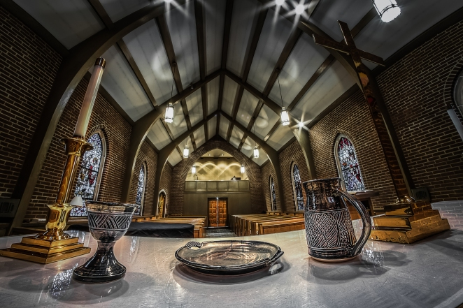 The Boyd Chapel at First Presbyterian Church in Winchester, VA. Among other gatherings, this space lends itself to the 7:30 am worship service each Sunday.  Order a print of this image.