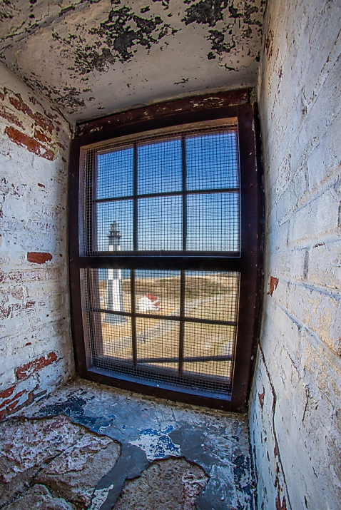 The current Cape Henry Lighthouse from inside the stairwell of the original. | Order a print of this image.