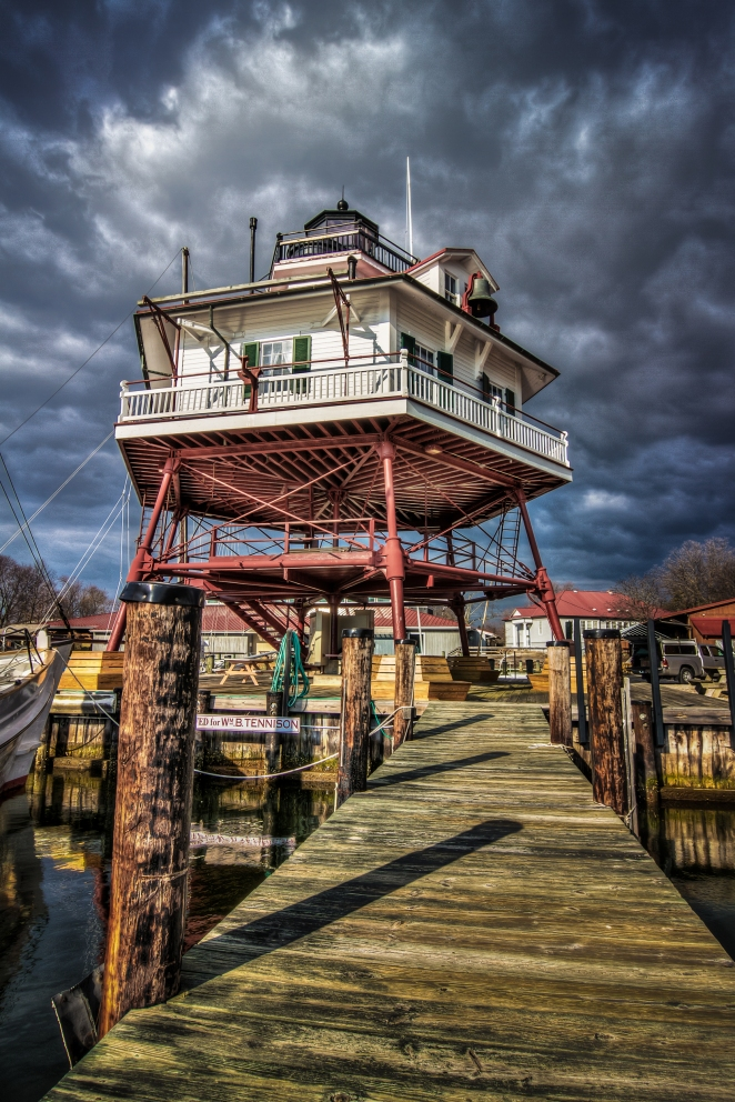 The Drum Point Lighthouse at the Calvert Marine Museum in Maryland.  Order a print of this image.