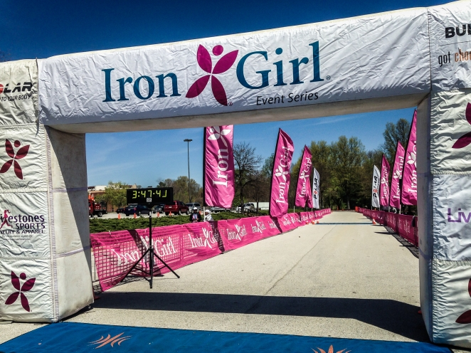 The finishing chute of the Iron Girl 1/2 marathon in Columbia, MD.