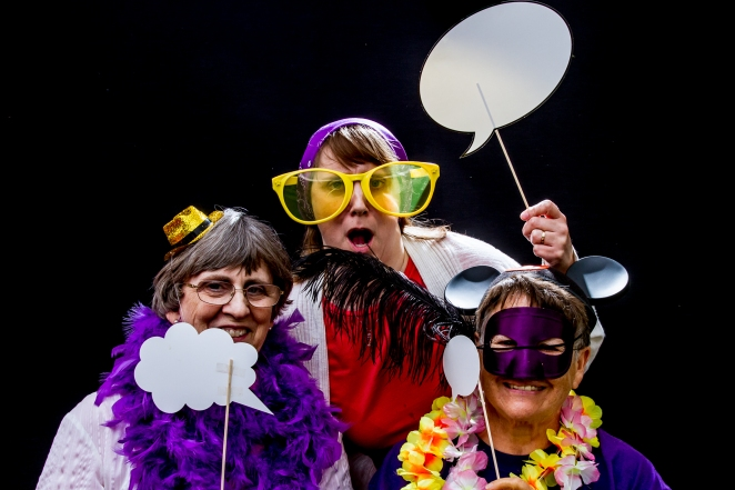 From left to right: my mother-in-law, my wife and my mother. | I think I need a little help filling in the Balloons.