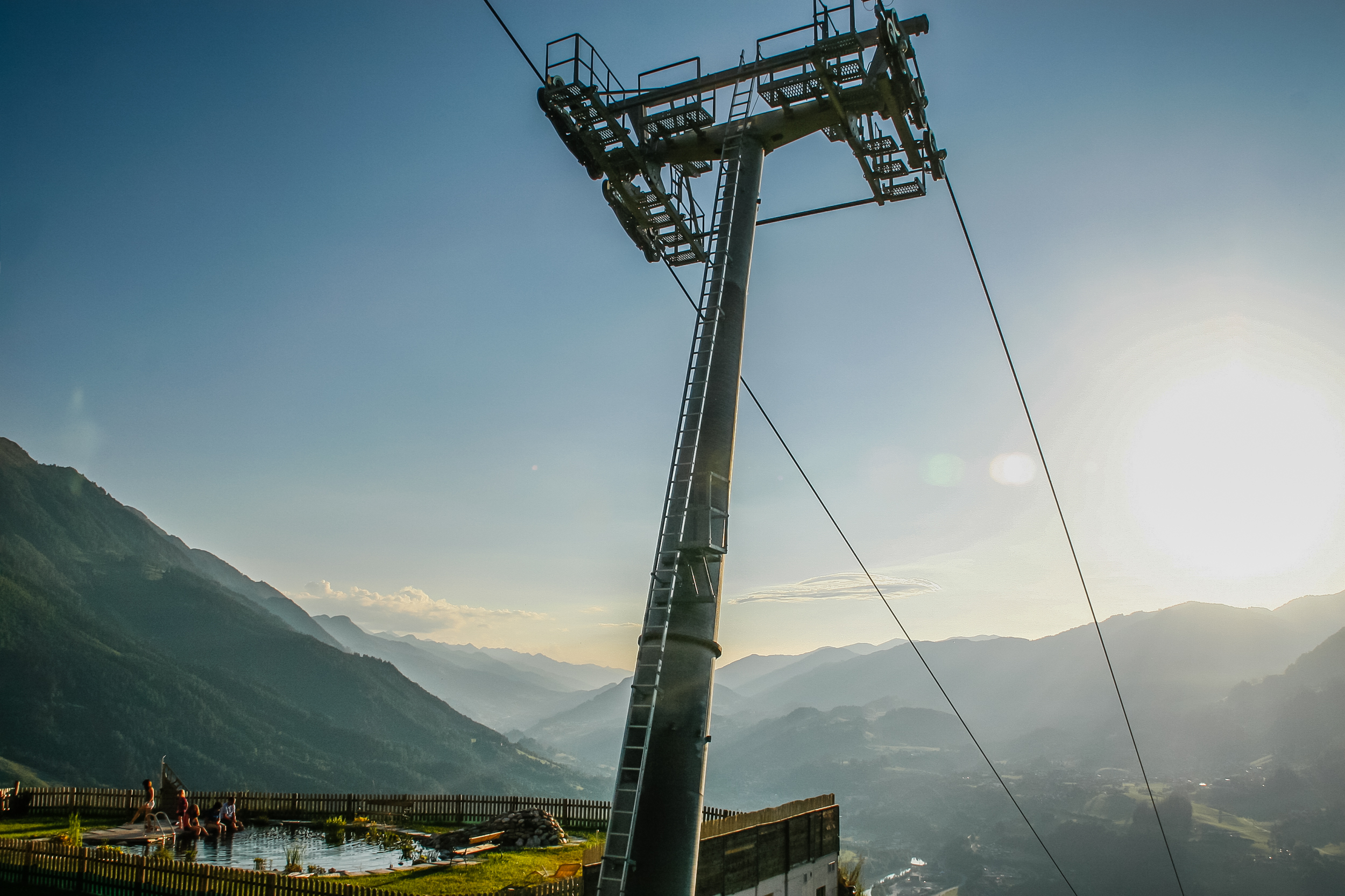 What a site for an awesome pool party.  That ski lift goes to the Alpendorf Ski area in Austria.
