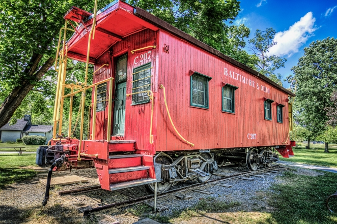 Clearbrook Park is just north of Winchester, VA and, along with some awesome walking trails, boasts a vintage caboose.