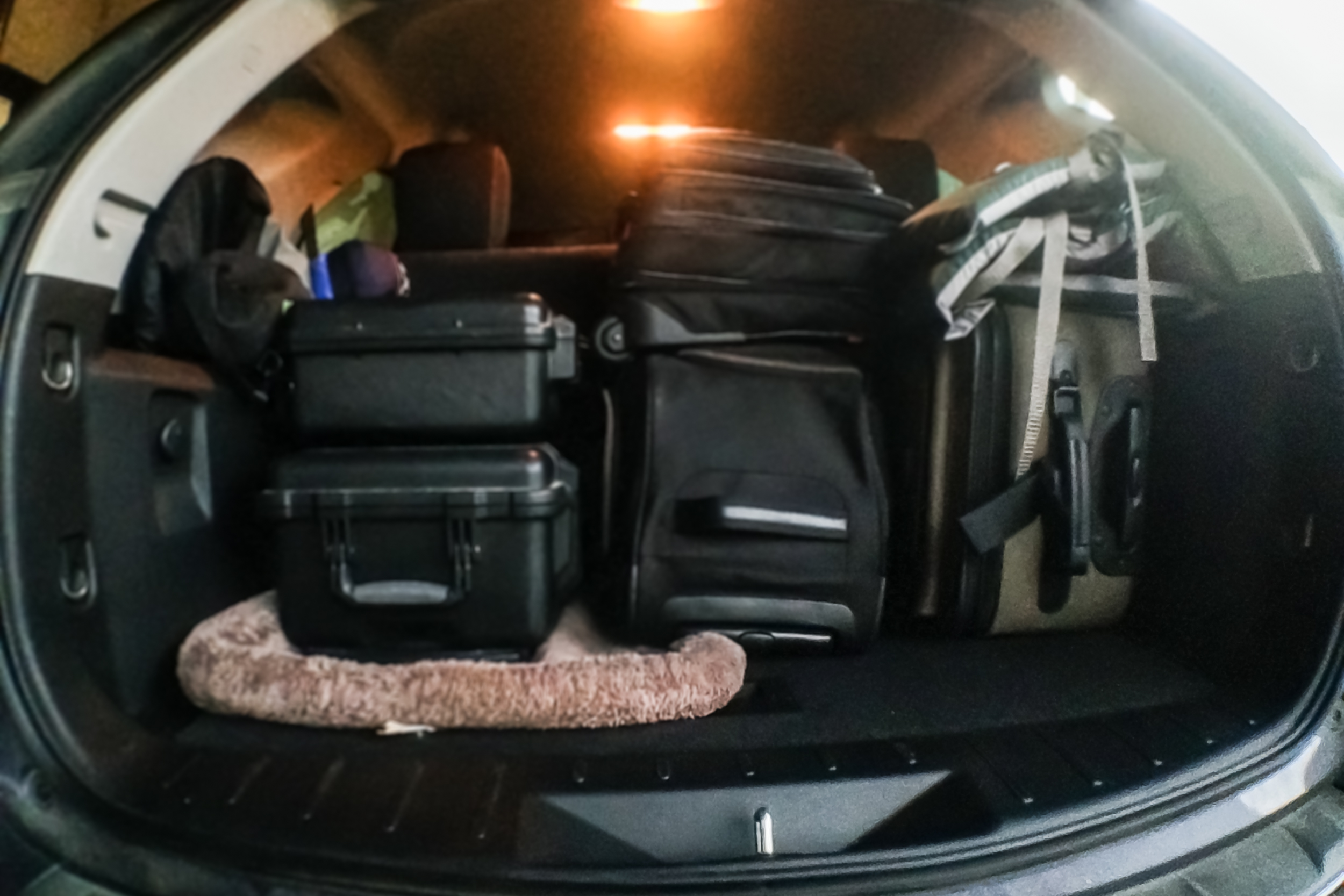 Notice how almost half the car is my photography equipment.