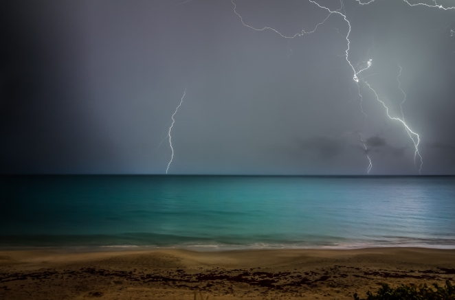 I'd posted an image previously from this lightning storm, but this was what was happening over the ocean in the other direction. | Order a print of this image.