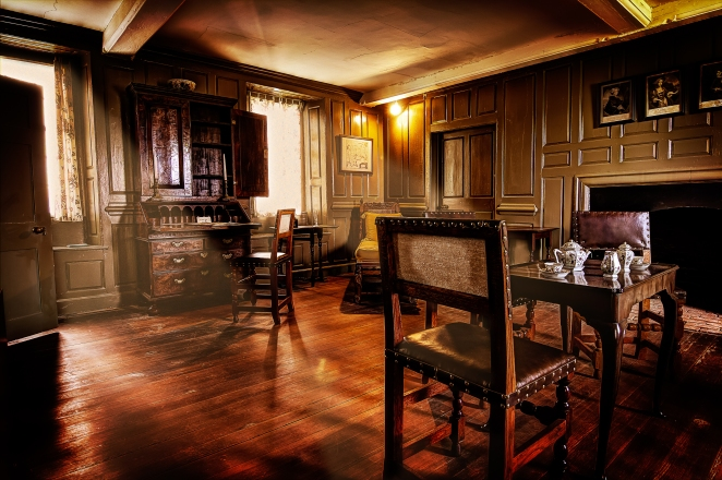 One of the many Jacobean-style rooms at Bacon's Castle. | Order a print of this image.