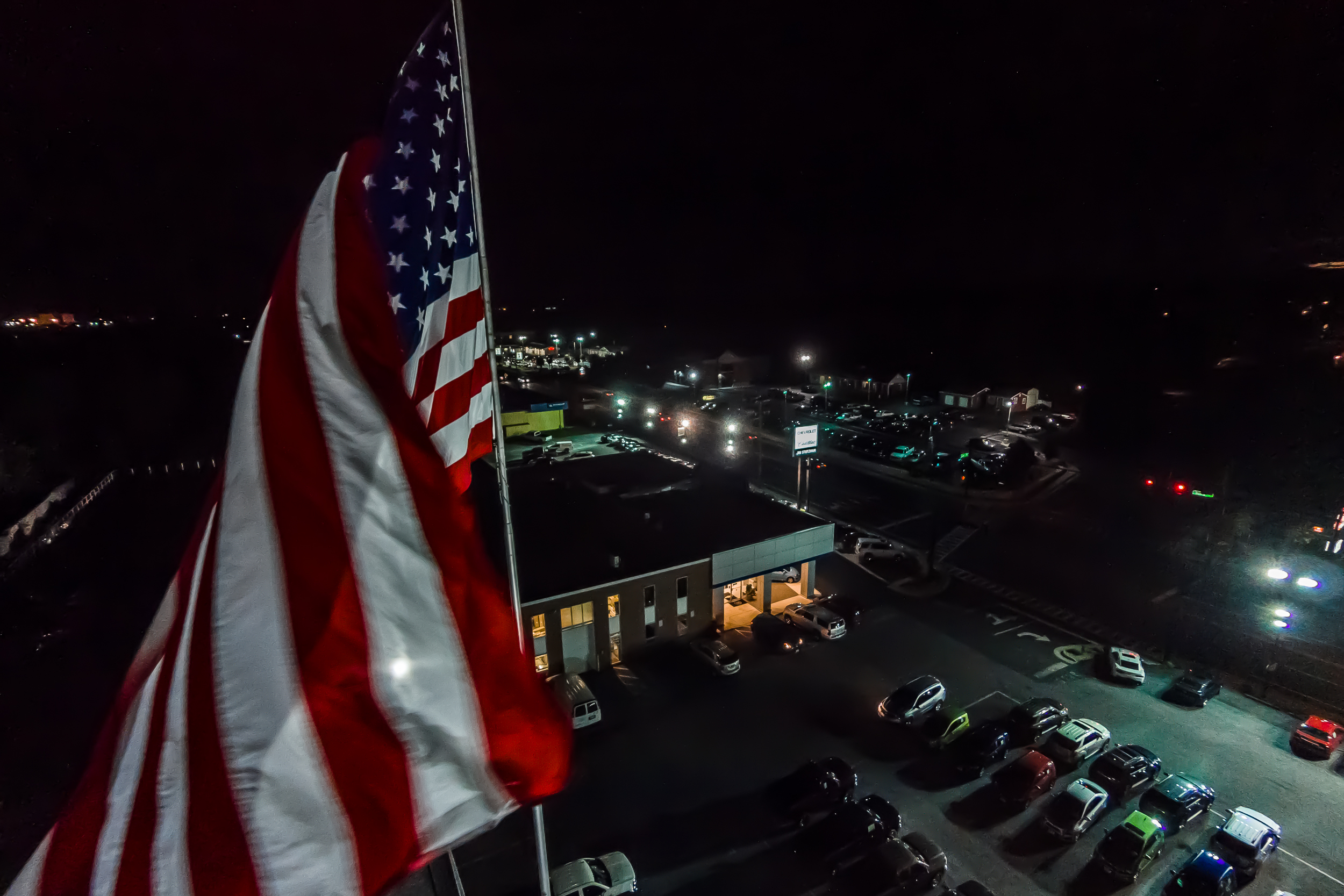 That's one BIG flag.  I've been living my house now for 10+ years and it's still a little eerie to hear this flag flapping in the wind at night.