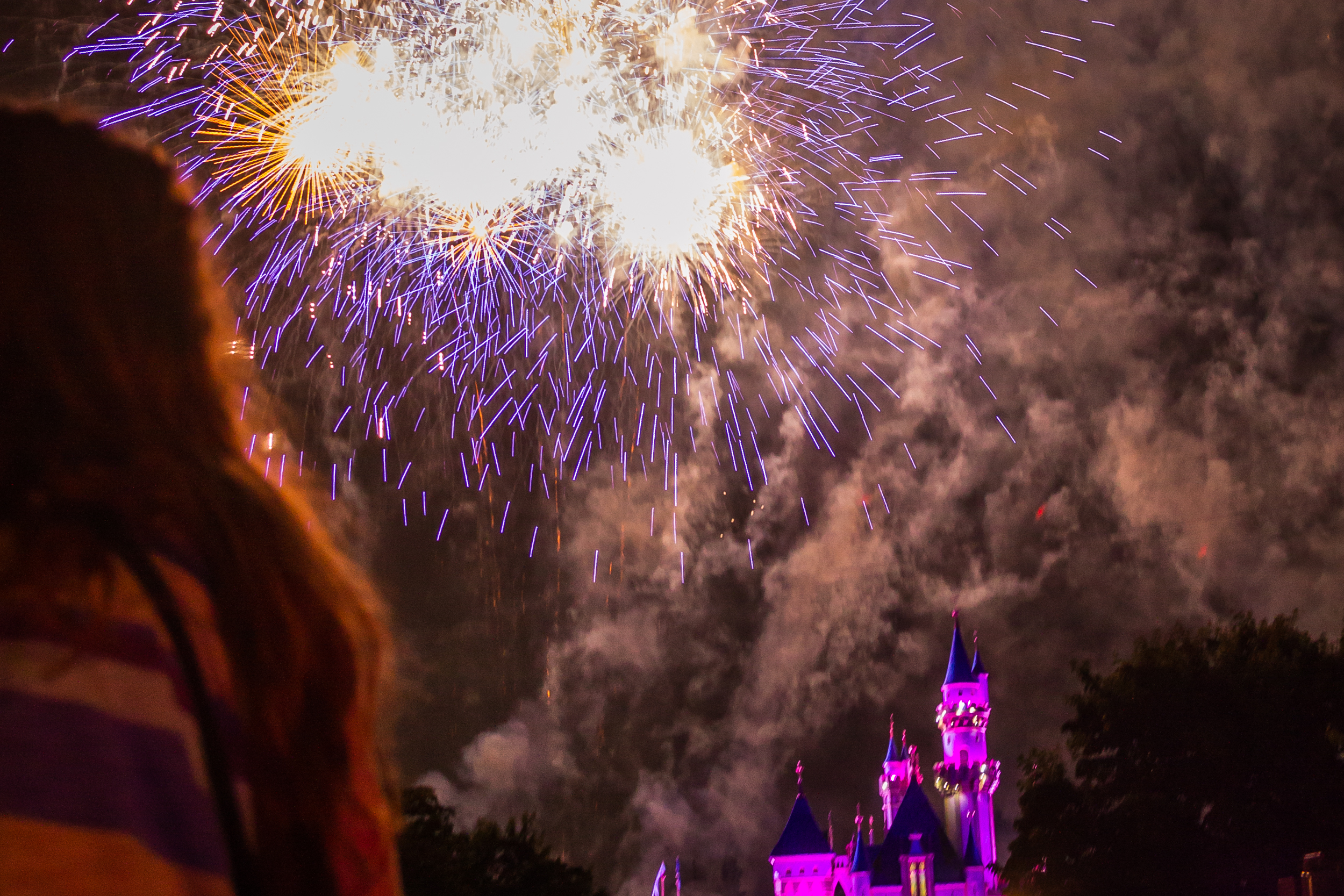 The nightly fireworks show at Disneyland Park.