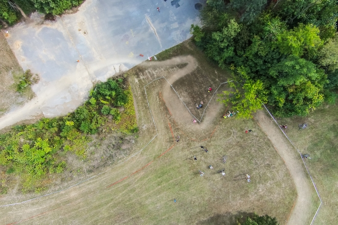 The Belgian Wall at the Applecross cyclocross race in Winchester is approximately a 45º angle, which is eliminated with this top-down, mapping view.