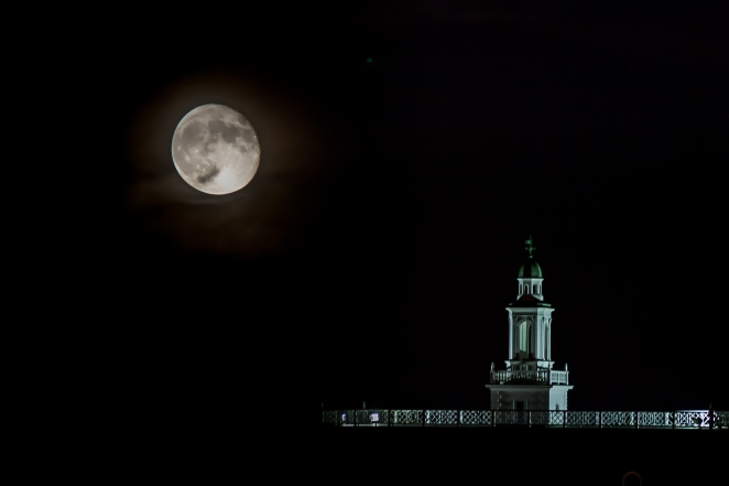 Handley High School's iconic cupola at night.