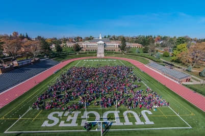 The entire student body of Winchester Public Schools (roughly 4,400 students) gathered today for an aerial shoot promotion cultural diversity. The footage will be featured in a video to be shown in January on Martin Luther King, Jr. Day.